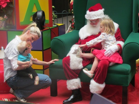 Showing Santa her Gold Slippers