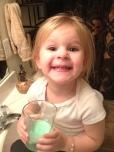 Drinking green milk from the leprechaun